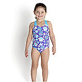 Speedo Infant Girl's Essential All Over Swimsuit - Turquoise