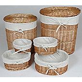 Wiseaction Oval Willow Basket Set - Honey