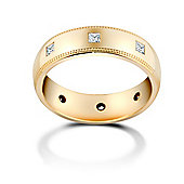 Jewelco London 9ct Yellow Gold 4mm Court Mill-Grain Diamond set 40pts Eternity Wedding / Commitment Ring