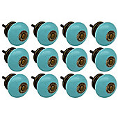 Ceramic Cupboard Drawer Knobs - Turquoise - Pack Of 12