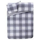 Tesco Checked Brushed Cotton Duvet Cover And Pillowcase Set, , - Grey