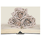 3 Rose On Book Printed Canvas 50 x 70cm