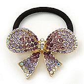 Medium Gold Plated AB/Lavender/Purple Crystal Bow Pony Tail Hair Elastic/Bobble