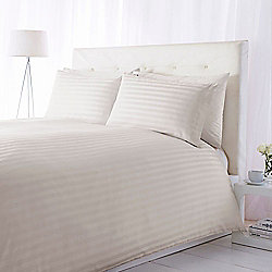 Luxury Hotel Collection 300Tc Wide Sateen Stripe Duvet Set Double Cream