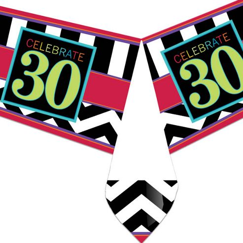 30th Birthday Plastic Tablecover - 137cm X 259cm