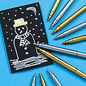 Gold & Silver Metallic Fibre Pens (Pack of 6 )