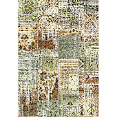 Mastercraft Rugs Woodstock Green Brown Patchwork Rug - 133cm x 195cm