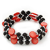 Acrylic & Shell Bead Coil Flex Bangle Bracelet (Red and Black) - Adjustable