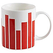 Tesco Graduated Stripe Mug Single red