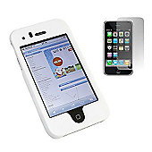 iTALKonline White Hybrid Case LCD Screen protector and Cleaning Cloth - Apple iPhone 3G/3GS