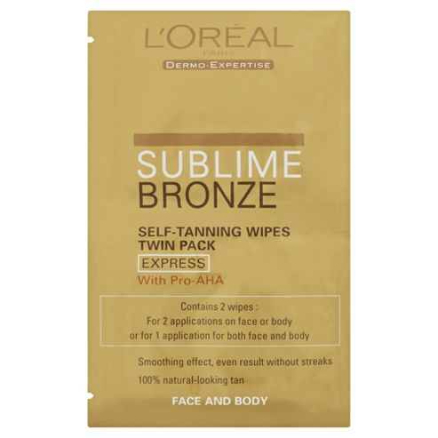 L'Oreal Sublime Self Tan Wipes Face and Body 2 pack