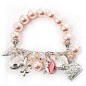 Pink Plastic Bead Charm Flex Bracelet