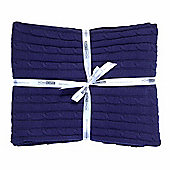 Homescapes Cotton Cable Knit Throw Navy Blue, 130 x 170 cm