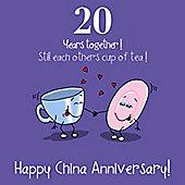20th Wedding Anniversary Greetings Card - China Anniversary