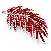 Statement Crystal Leaf Brooch (Bright Red)