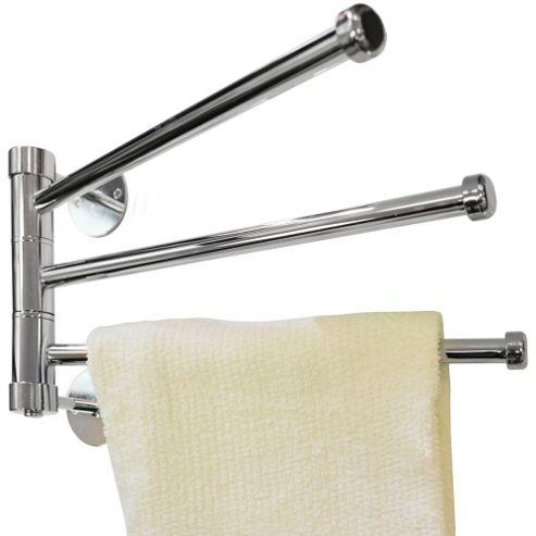 Buy Salute Wall Mounted Metal 3 Rung Towel Rail Silver