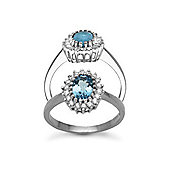 Jewelco London 9 Carat White Gold 23pts Diamond & Blue Topaz Ring
