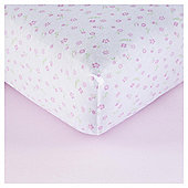 Tesco Cot Bed 2 Pk Print/Plain Sheets, Pink