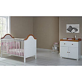OBaby B is for Bear Cot Bed & Closed Changer (White)