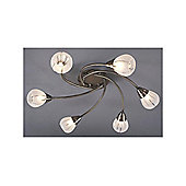 Halogen Semi Flush Ceiling Light with 6 Curvy Arms