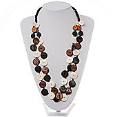 2 Strand Long Wood Bead Necklace (Dark Brown & Cream)