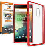 **Orzly** Fusion Case for OnePlus Two - Red / Clear