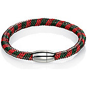 Mens Fred Bennett Red and Green Steel Weave Bracelet