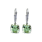 QP Jewellers Diamond & Green Amethyst Rococo Cushion Earrings in 14K White Gold