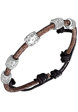 Urban Male Brown Leather Single Strand Charm Bracelet