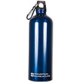 Mountain Warehouse 1L Metallic Drinking Drinks Water Bottle Flask + Carabiner