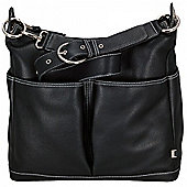OiOi Pocket Hobo Bag (Black Leather with Zebra Lining)