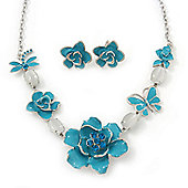 Light Blue Enamel Flower & Butterfly Necklace & Stud Earring Set In Rhodium Plating - 36cm Length/ 5cm Extension