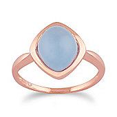 Gemondo Blue Jade 'Tweedia' Pastel Ring in 9ct Rose Gold Plated Sterling Silver