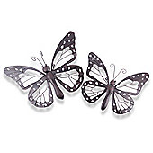 Set Of Two Decorative Metal Butterfly Garden Wall Art Black / Brown Finish