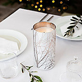 Glass Battery LED Candle with Etched Tree Branch Design