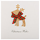 Tesco Luxury Glittered Reindeer Christmas Cards, 6 Pack