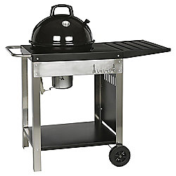 Tesco 46cm Kettle Charcoal Trolley BBQ, Black & Silver