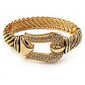 Pave Set 'Buckle' Hinged Bangle Bracelet (Gold Tone)