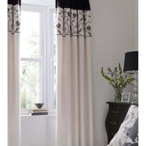 Catherine Lansfield Home Fine Luxury Collection Textured Border Curtains Black 168cm wide x 183cm drop (66x72 inches)