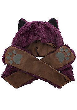 Faux Fur Animal Wolf Hat With Paws Burgundy - Multi