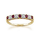 Gemondo 9ct Yellow Gold 0.31ct Natural Ruby & 2pt Diamond Half Eternity Ring