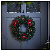 Poinsettia, Berry and Pine Cone Christmas Wreath, 45cm