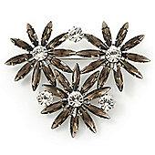Grey, Clear Triple Flower Corsage Brooch In Silver Tone - 75mm Across