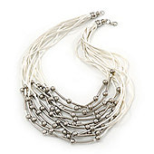 Multistrand, Layered Silver Beads & Bars White Silk Cord Necklace - 60cm Length