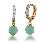 Gemondo Gold Plated Sterling Silver 1.67ct Jade & 5pt Diamond Drop Earrings