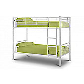 Atlas Metal Bunk Bed in White Gloss Finish 3FT Single 90cm