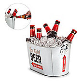 Metal Oval Drinks Pail Beer Ice Bucket Beverage Tub Retro Theme