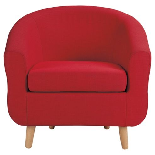 Retro Fabric Tub Chair Red
