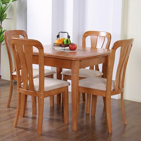 G&P Furniture Windsor House 5-Piece Lincoln Extending Dining Set with Slatted Back Chair - Maple