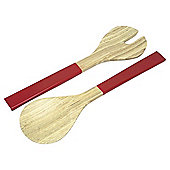 Bamboo Laquer Salad Servers Red